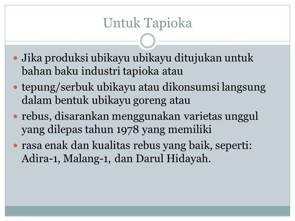Untuk Tapioka Jika produksi ubikayu ubikayu ditujukan untuk bahan baku industri tapioka atau.