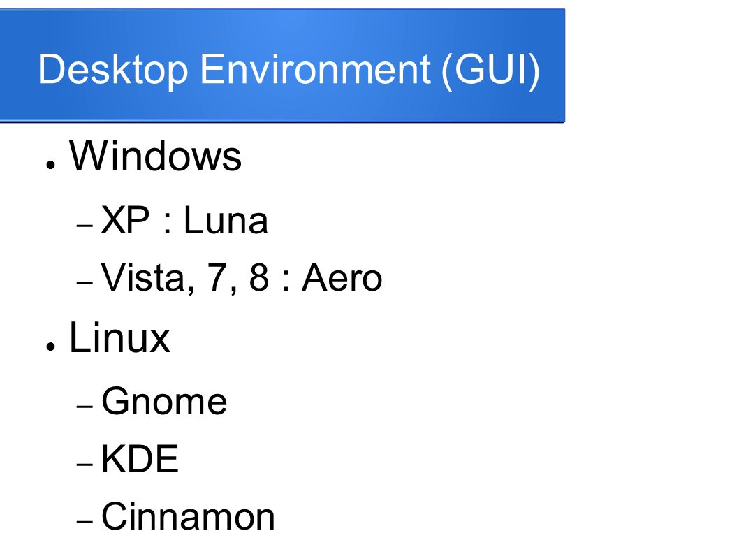 Desktop Environment (GUI)