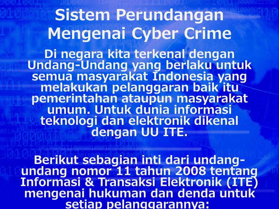 Sistem Perundangan Mengenai Cyber Crime