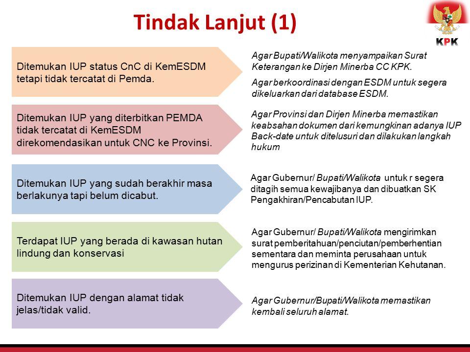 Tindak Lanjut (1) Ditemukan IUP status CnC di KemESDM tetapi tidak tercatat di Pemda.