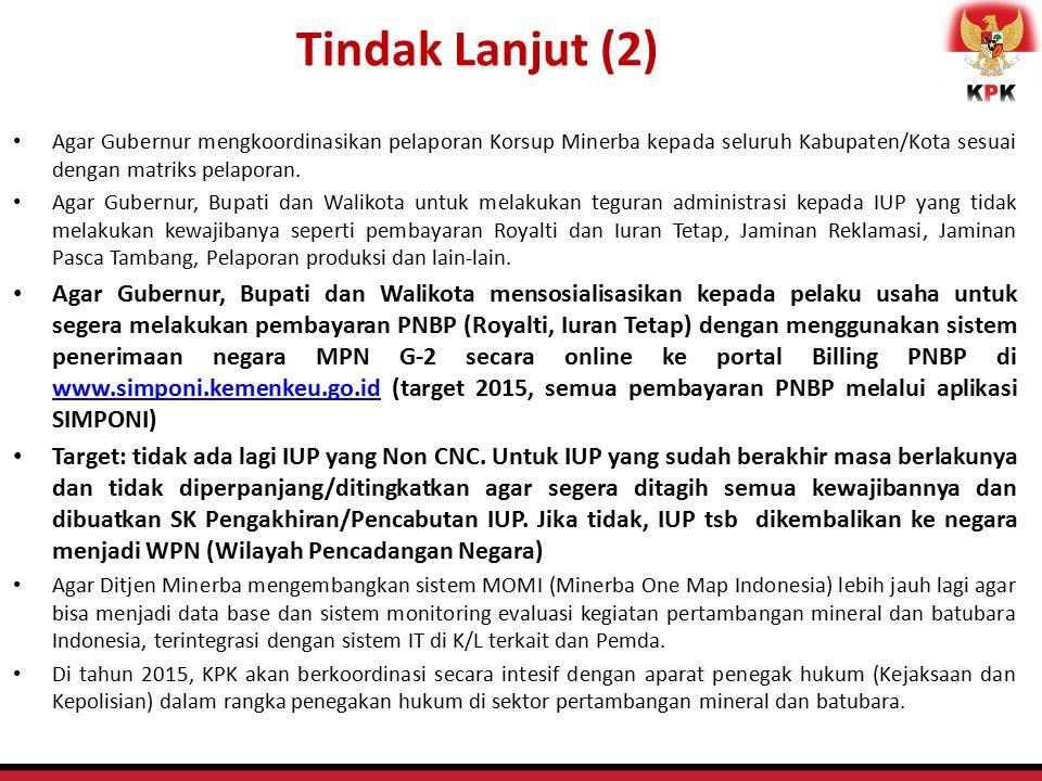 Tindak Lanjut (2) Agar Gubernur mengkoordinasikan pelaporan Korsup Minerba kepada seluruh Kabupaten/Kota sesuai dengan matriks pelaporan.