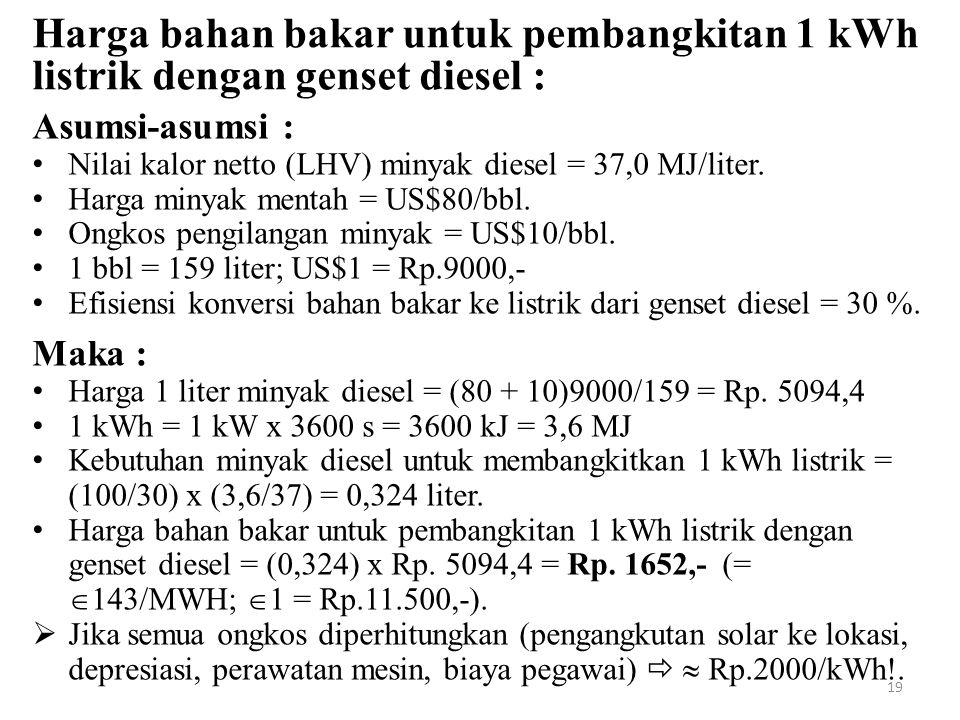 Harga bahan bakar untuk pembangkitan 1 kWh listrik dengan genset diesel :