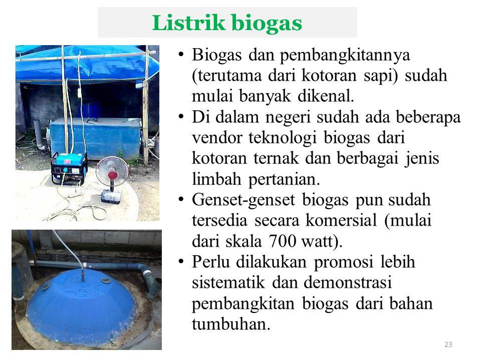 Listrik biogas Biogas dan pembangkitannya (terutama dari kotoran sapi) sudah mulai banyak dikenal.