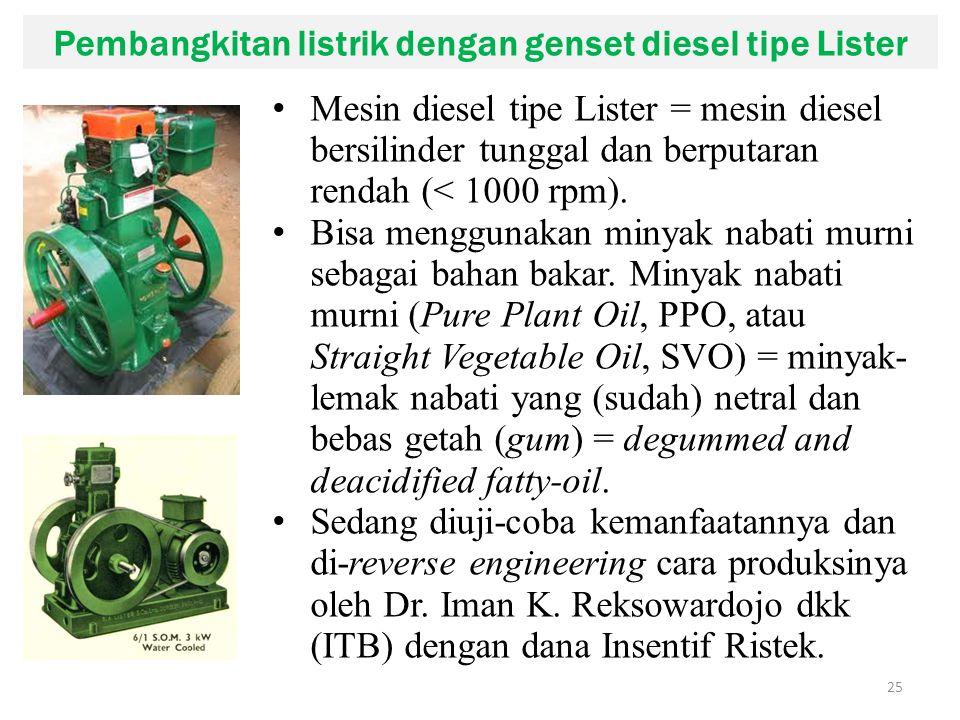 Pembangkitan listrik dengan genset diesel tipe Lister