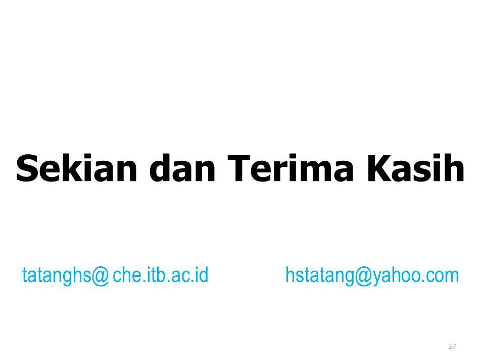Sekian dan Terima Kasih tatanghs@ che.itb.ac.id hstatang@yahoo.com