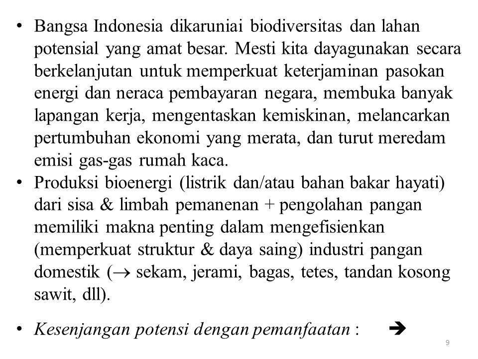 Bangsa Indonesia dikaruniai biodiversitas dan lahan potensial yang amat besar. Mesti kita dayagunakan secara berkelanjutan untuk memperkuat keterjaminan pasokan energi dan neraca pembayaran negara, membuka banyak lapangan kerja, mengentaskan kemiskinan, melancarkan pertumbuhan ekonomi yang merata, dan turut meredam emisi gas-gas rumah kaca.