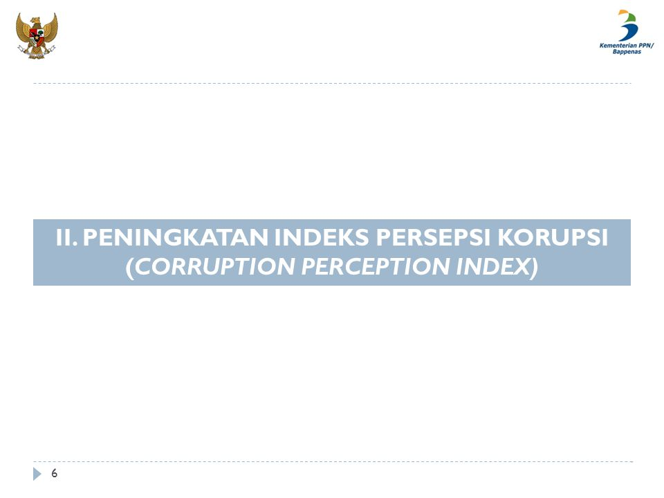II. PENINGKATAN INDEKS PERSEPSI KORUPSI (CORRUPTION PERCEPTION INDEX)
