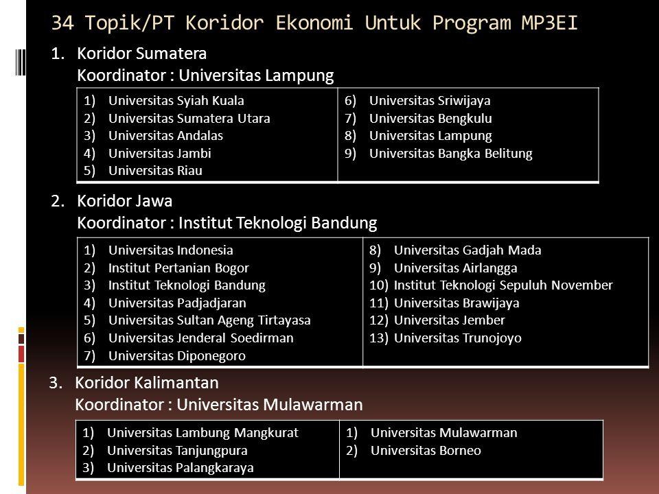 34 Topik/PT Koridor Ekonomi Untuk Program MP3EI