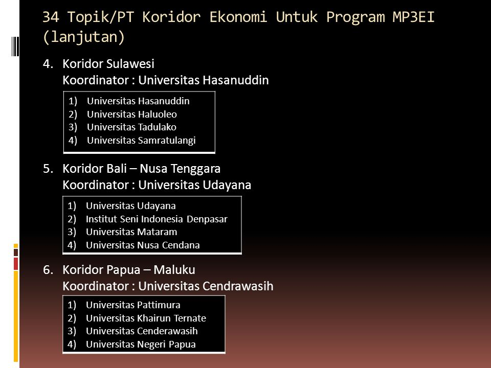 34 Topik/PT Koridor Ekonomi Untuk Program MP3EI (lanjutan)