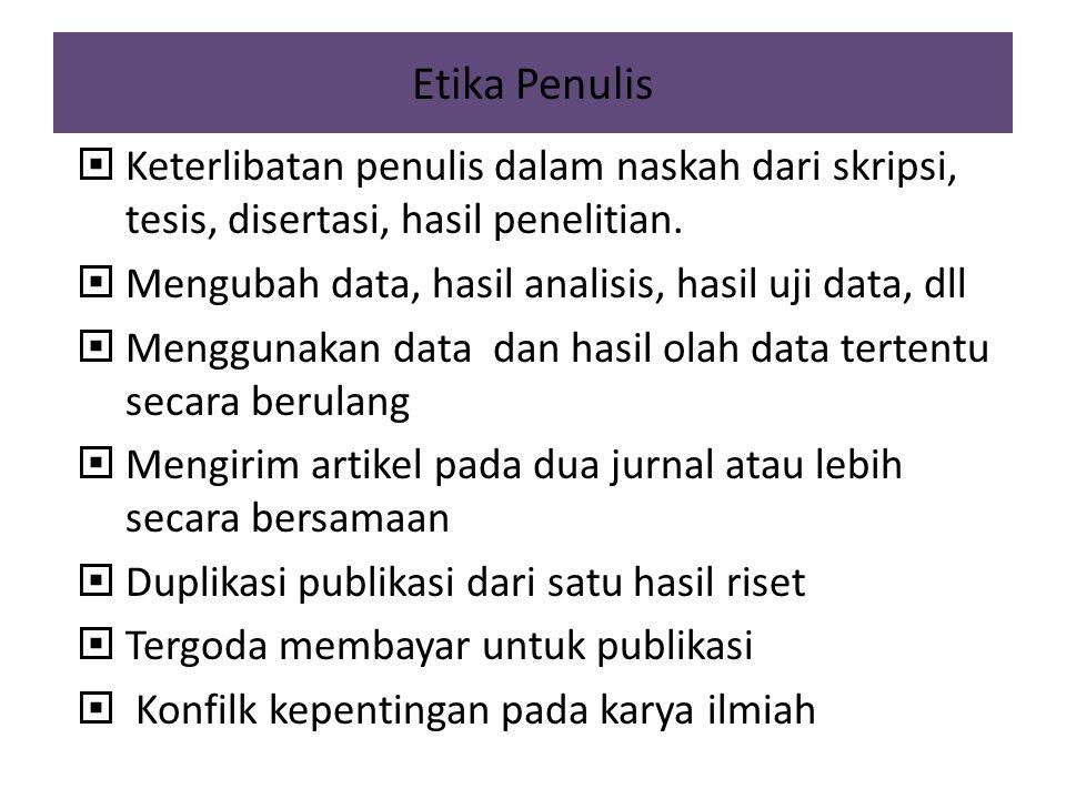 Etika Penulis Keterlibatan penulis dalam naskah dari skripsi, tesis, disertasi, hasil penelitian. Mengubah data, hasil analisis, hasil uji data, dll.
