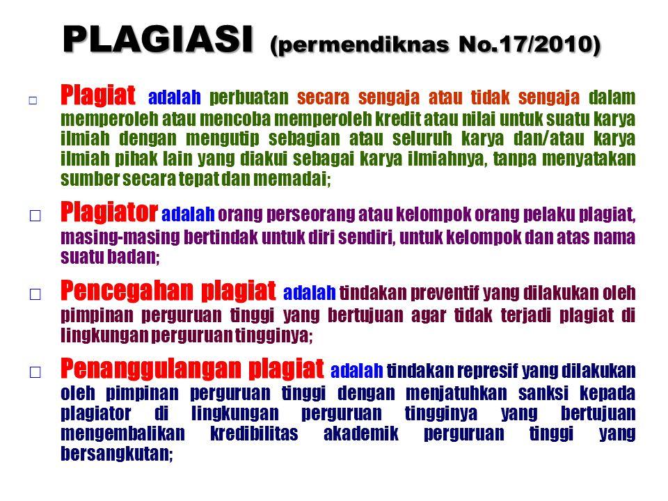 PLAGIASI (permendiknas No.17/2010)