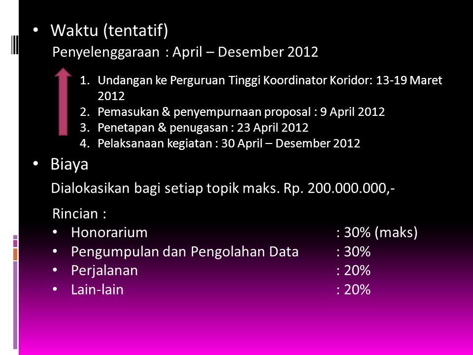 Waktu (tentatif) Biaya Penyelenggaraan : April – Desember 2012