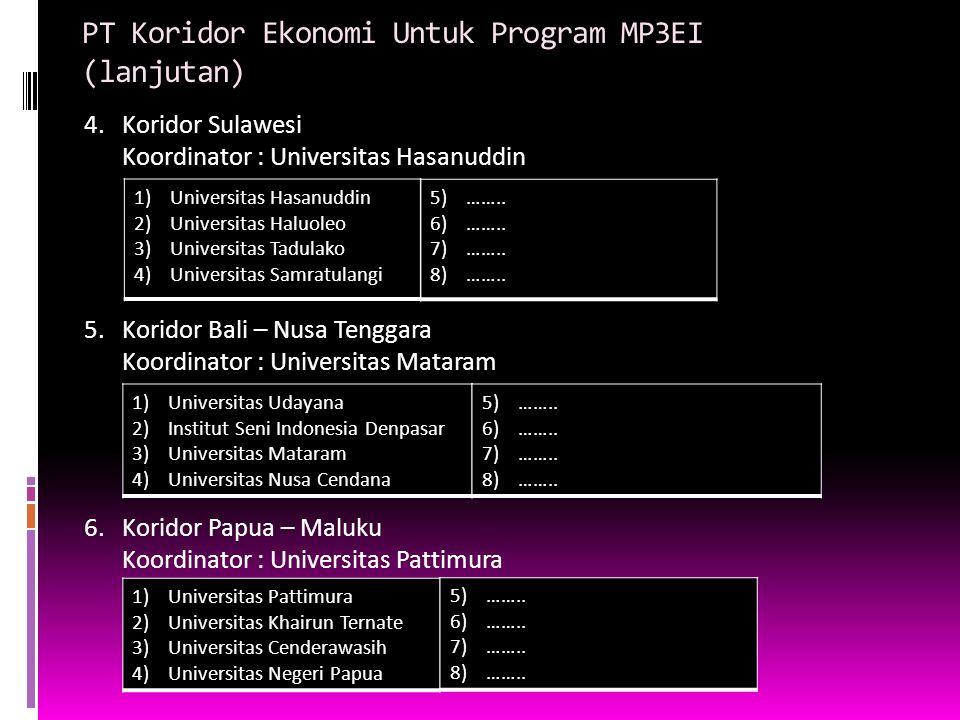 PT Koridor Ekonomi Untuk Program MP3EI (lanjutan)