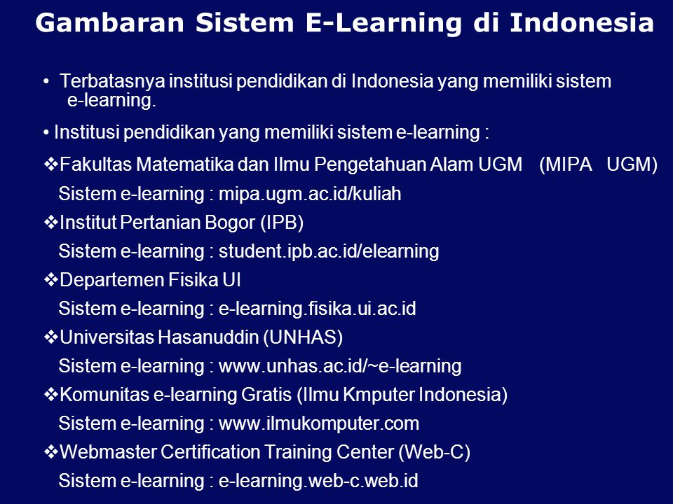 Gambaran Sistem E-Learning di Indonesia