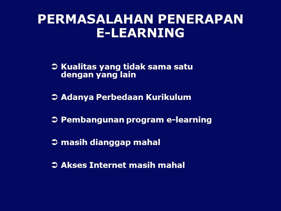 PERMASALAHAN PENERAPAN E-LEARNING