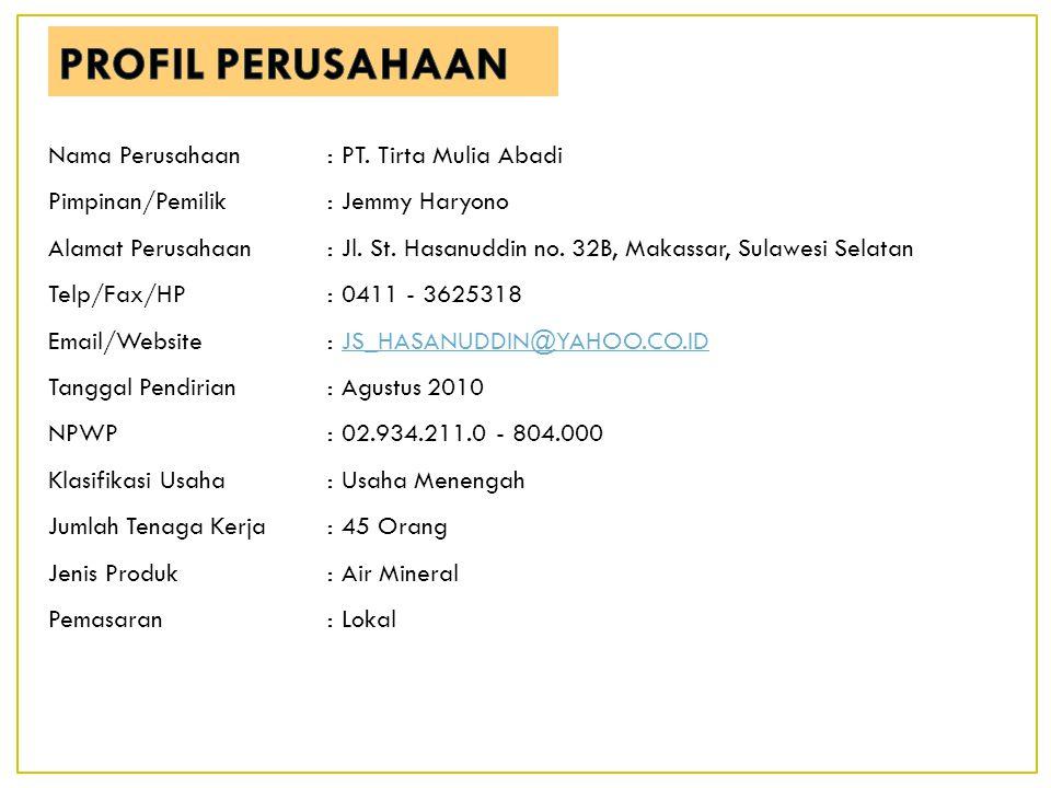 PROFIL PERUSAHAAN Nama Perusahaan : PT. Tirta Mulia Abadi
