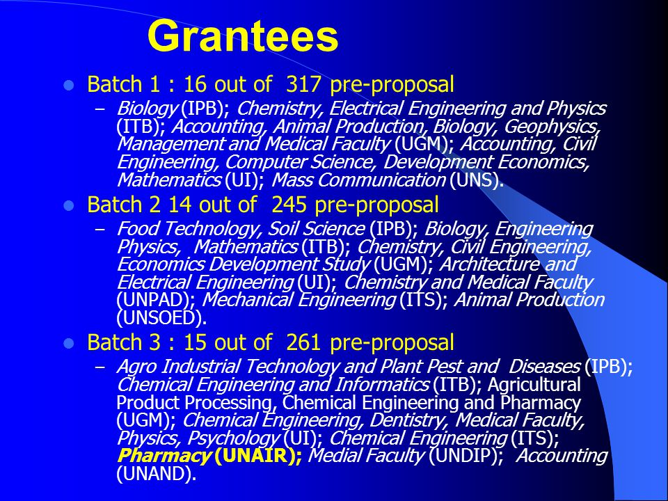Grantees Batch 1 : 16 out of 317 pre-proposal