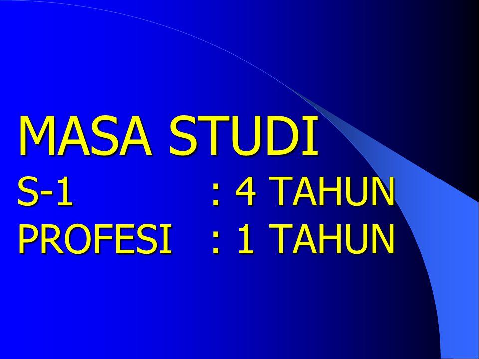 MASA STUDI S-1 : 4 TAHUN PROFESI : 1 TAHUN
