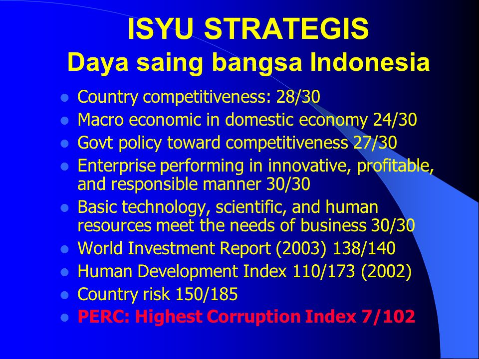 ISYU STRATEGIS Daya saing bangsa Indonesia