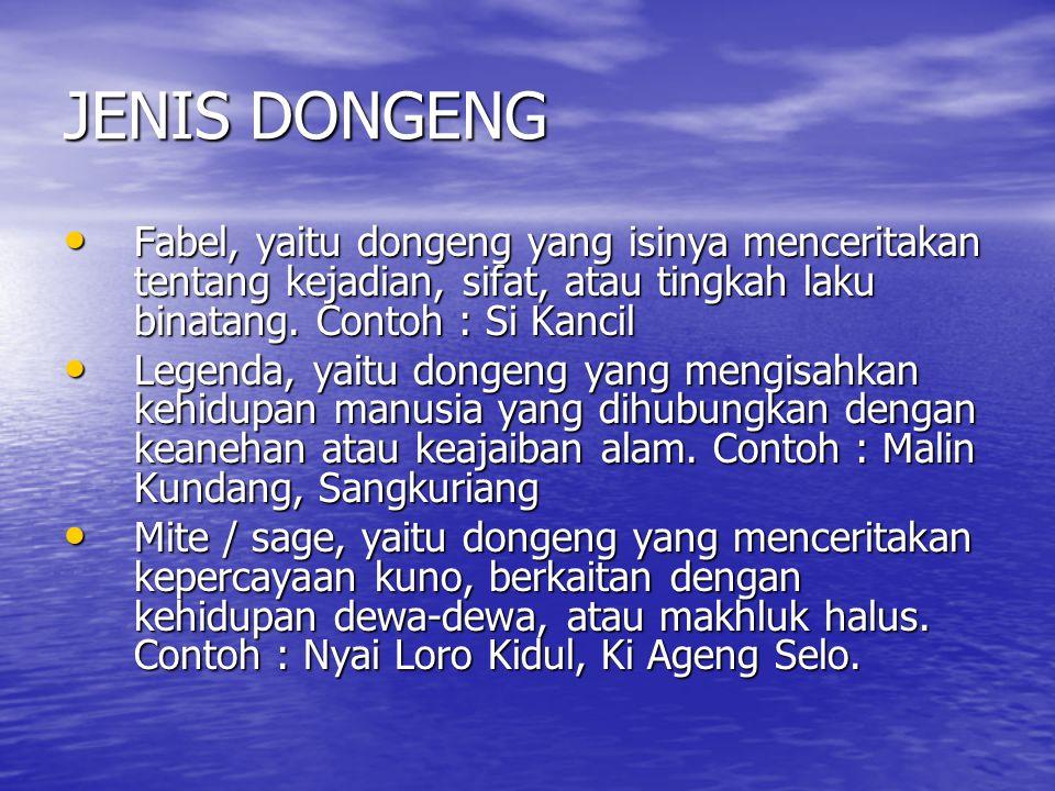 JENIS DONGENG Fabel, yaitu dongeng yang isinya menceritakan tentang kejadian, sifat, atau tingkah laku binatang. Contoh : Si Kancil.