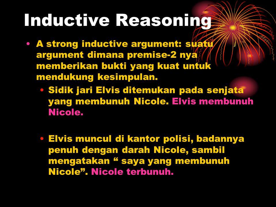Inductive Reasoning A strong inductive argument: suatu argument dimana premise-2 nya memberikan bukti yang kuat untuk mendukung kesimpulan.