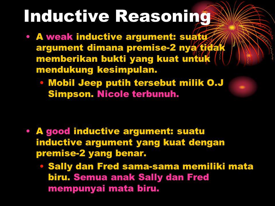 Inductive Reasoning A weak inductive argument: suatu argument dimana premise-2 nya tidak memberikan bukti yang kuat untuk mendukung kesimpulan.