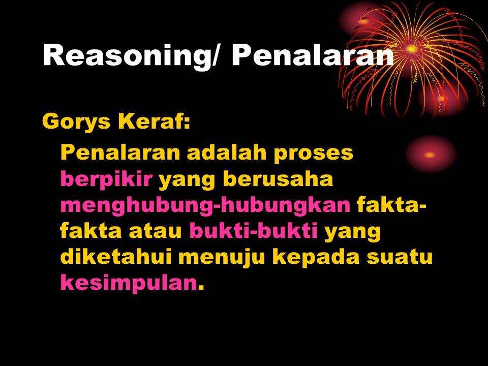 Reasoning/ Penalaran Gorys Keraf: