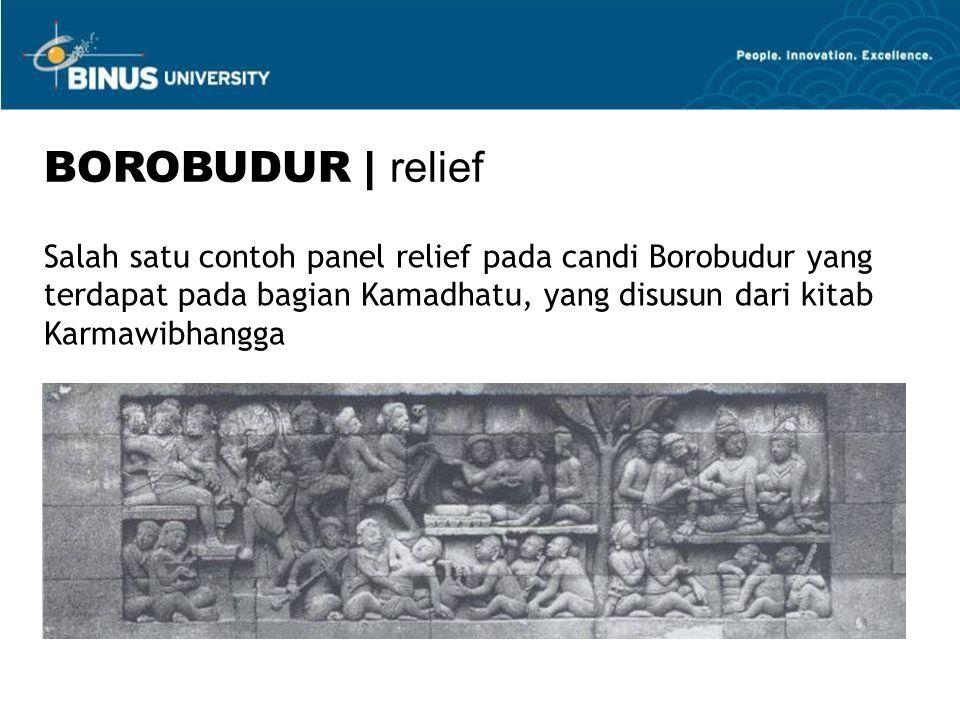 BOROBUDUR | relief Salah satu contoh panel relief pada candi Borobudur yang terdapat pada bagian Kamadhatu, yang disusun dari kitab Karmawibhangga.