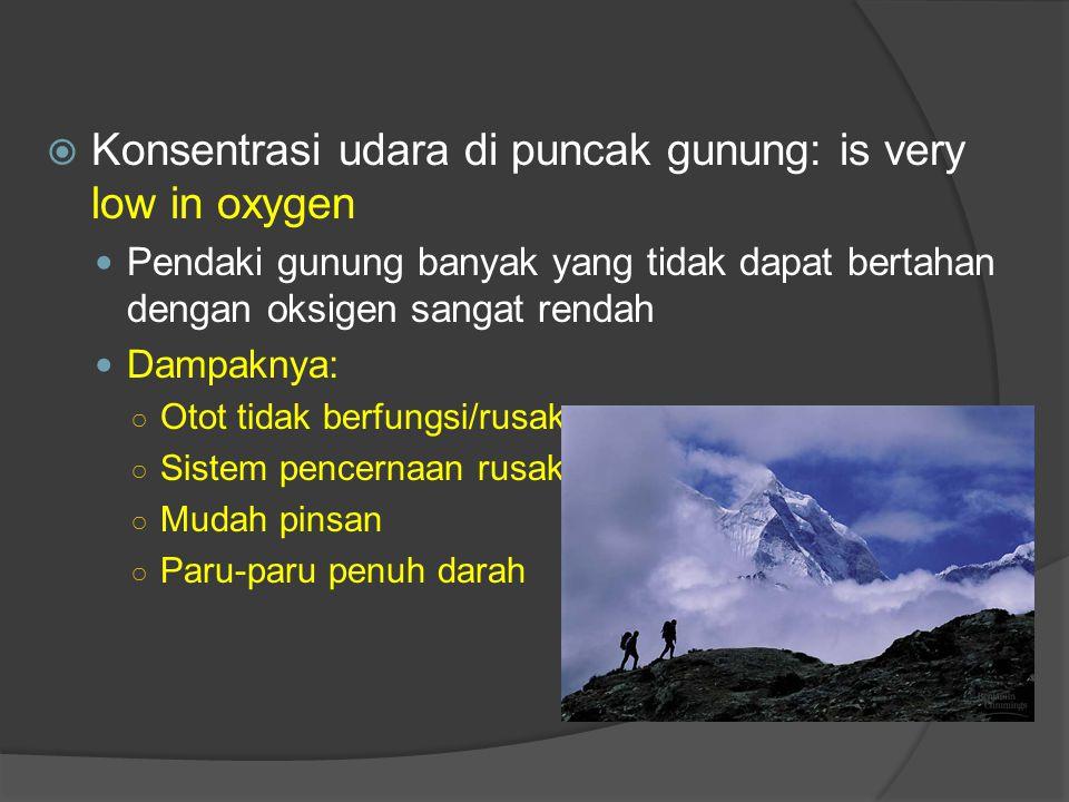 Konsentrasi udara di puncak gunung: is very low in oxygen