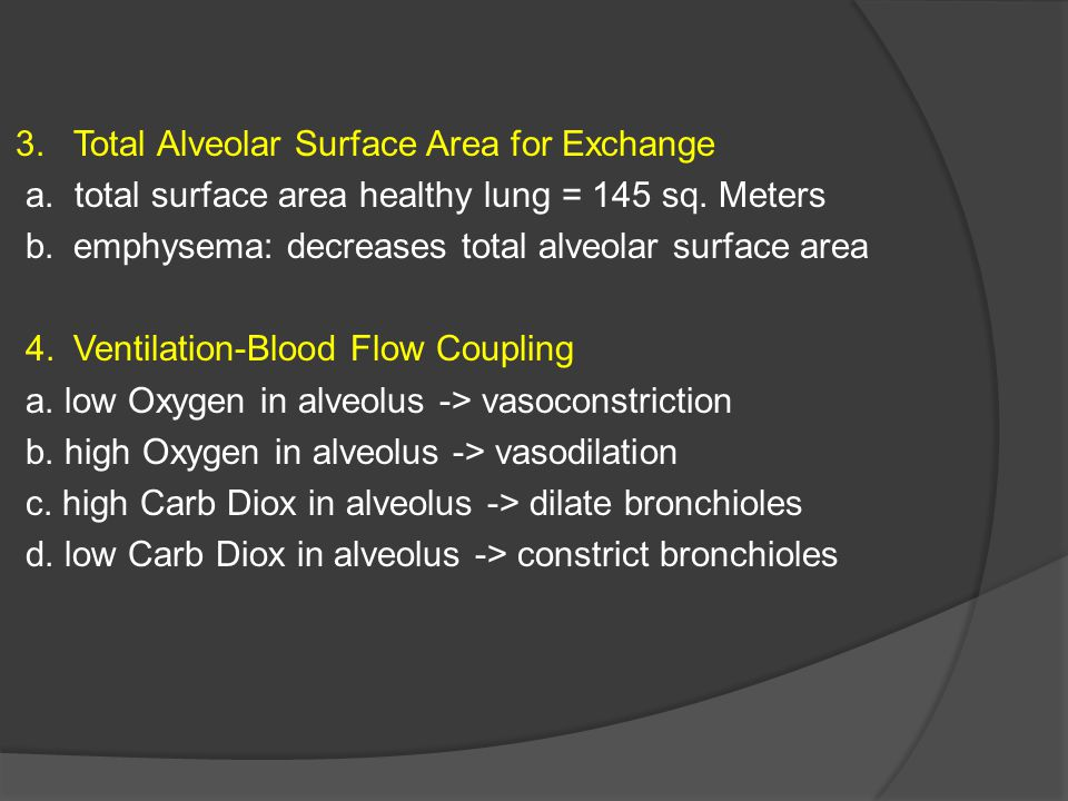 3. Total Alveolar Surface Area for Exchange