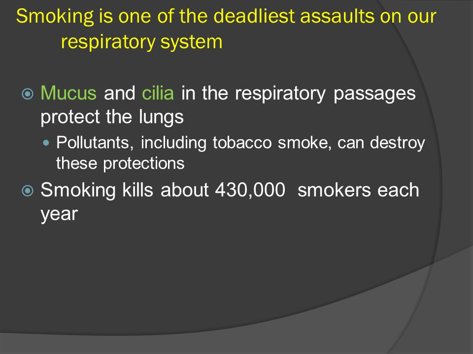 Smoking is one of the deadliest assaults on our respiratory system