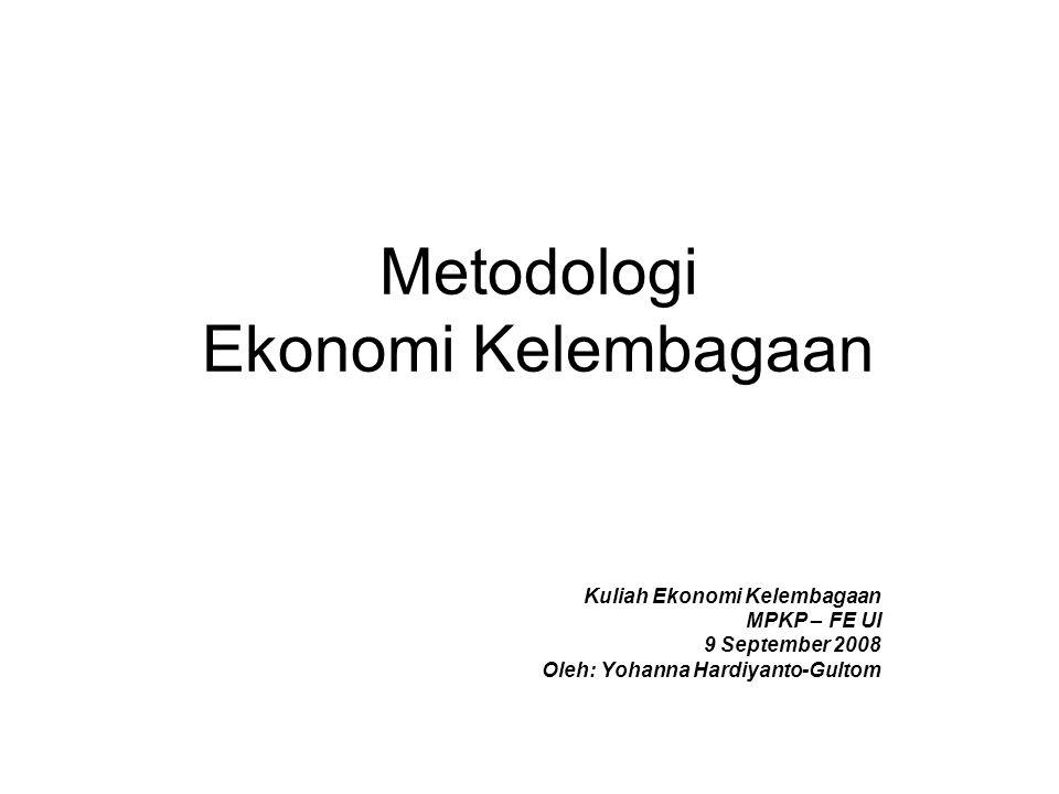 Metodologi Ekonomi Kelembagaan