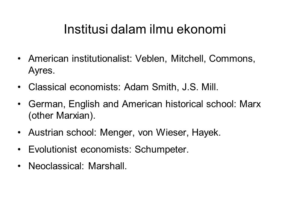 Institusi dalam ilmu ekonomi
