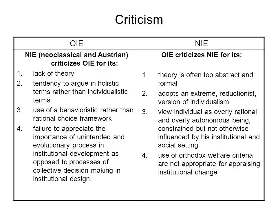 Criticism OIE. NIE. NIE (neoclassical and Austrian) criticizes OIE for its: lack of theory.