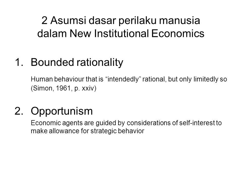 2 Asumsi dasar perilaku manusia dalam New Institutional Economics