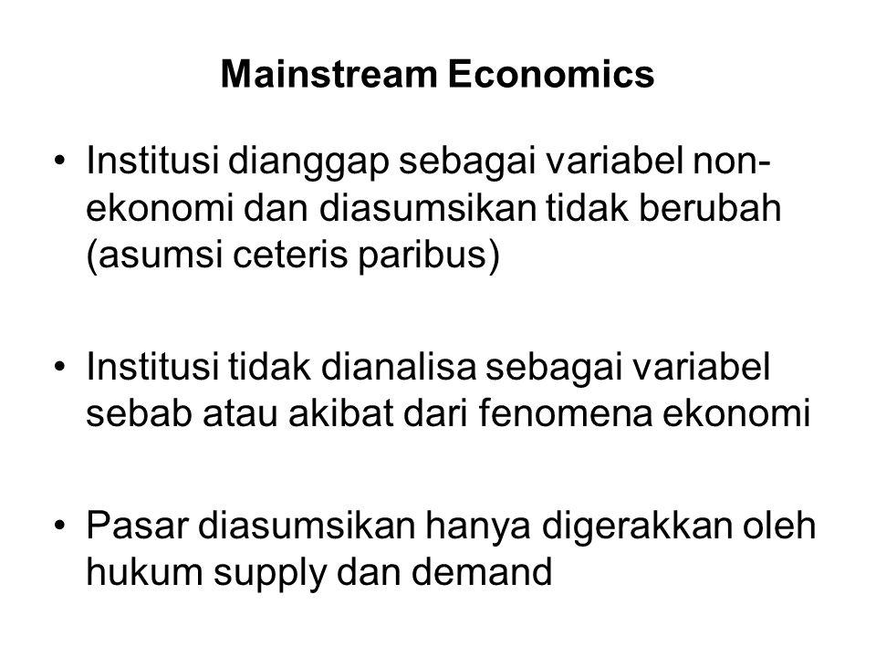 Mainstream Economics Institusi dianggap sebagai variabel non-ekonomi dan diasumsikan tidak berubah (asumsi ceteris paribus)