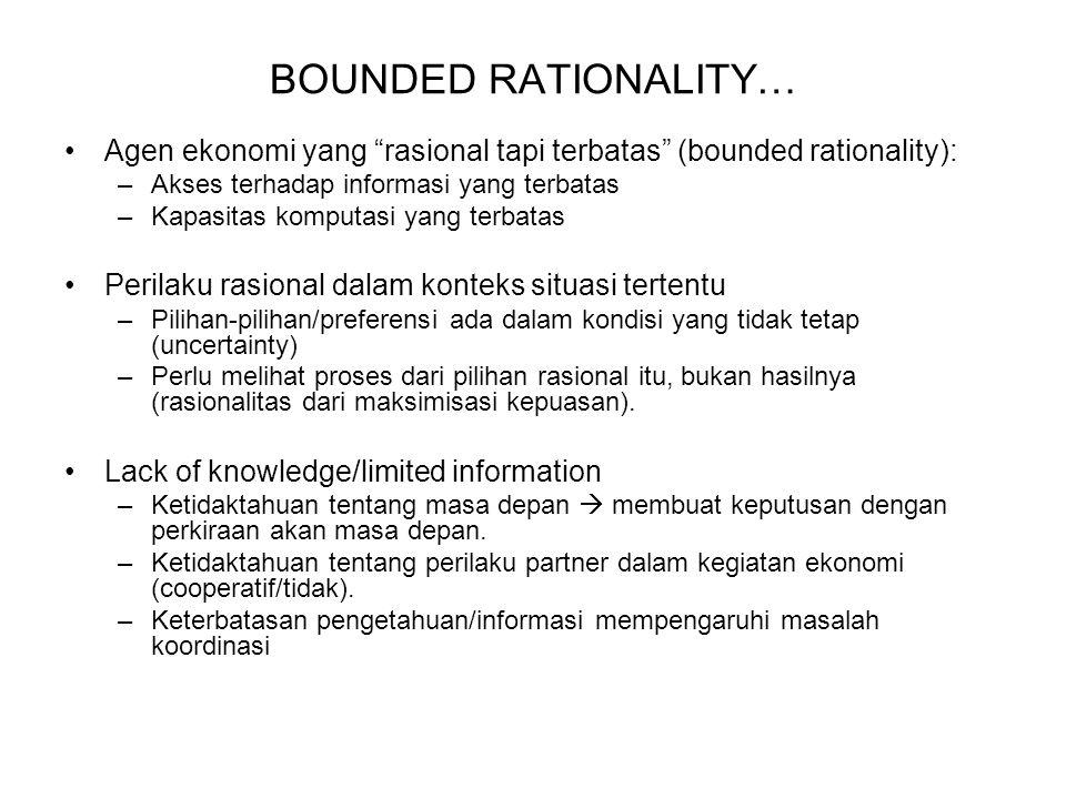 BOUNDED RATIONALITY… Agen ekonomi yang rasional tapi terbatas (bounded rationality): Akses terhadap informasi yang terbatas.