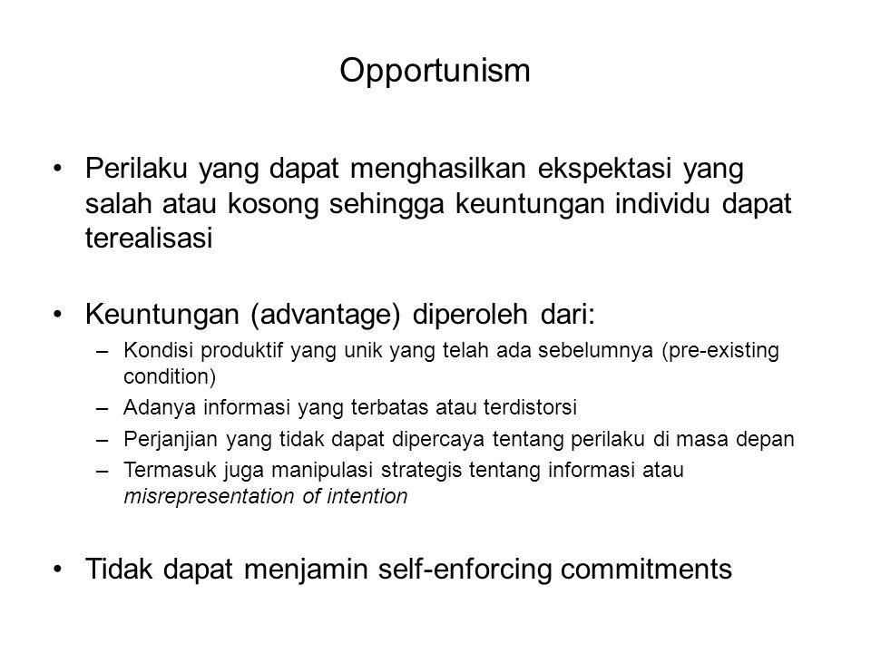 Opportunism Perilaku yang dapat menghasilkan ekspektasi yang salah atau kosong sehingga keuntungan individu dapat terealisasi.