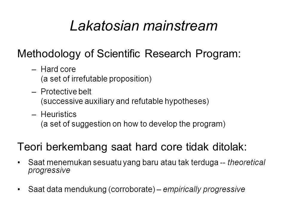 Lakatosian mainstream