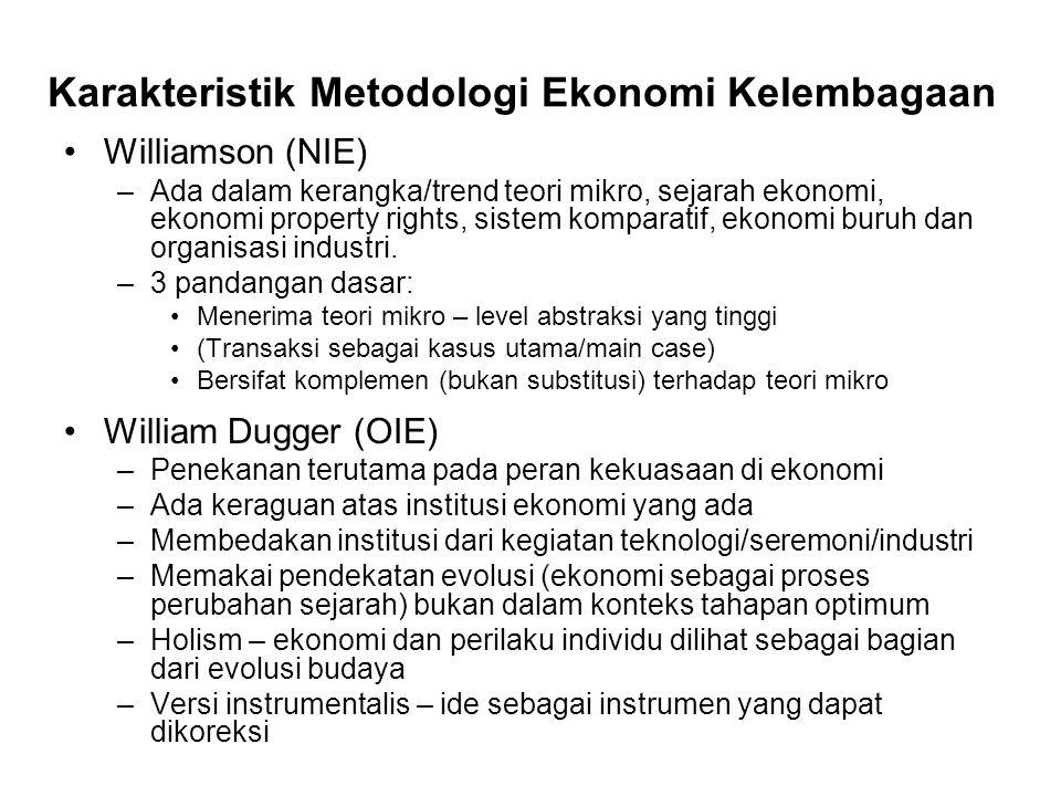 Karakteristik Metodologi Ekonomi Kelembagaan