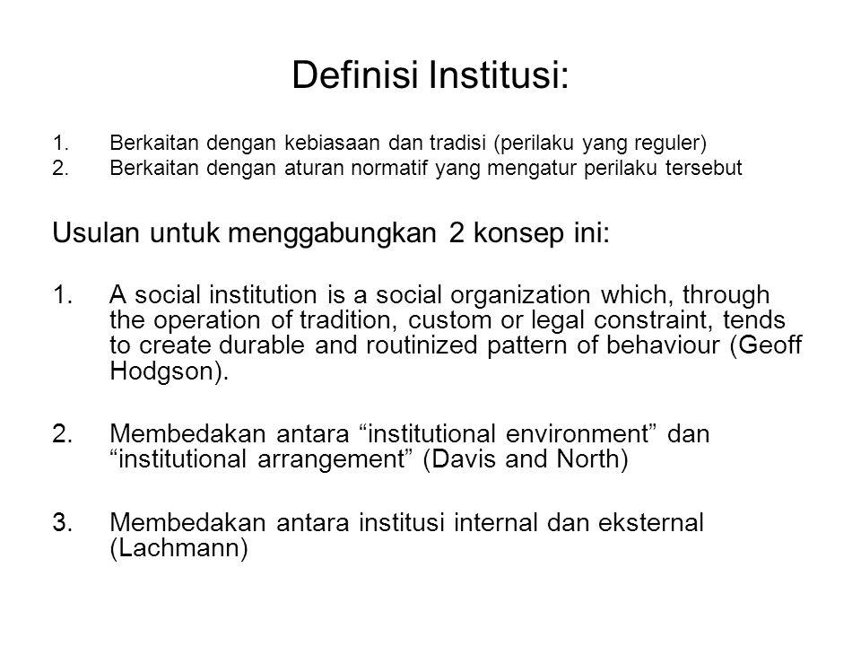 Definisi Institusi: Usulan untuk menggabungkan 2 konsep ini: