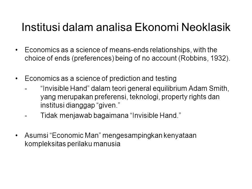 Institusi dalam analisa Ekonomi Neoklasik