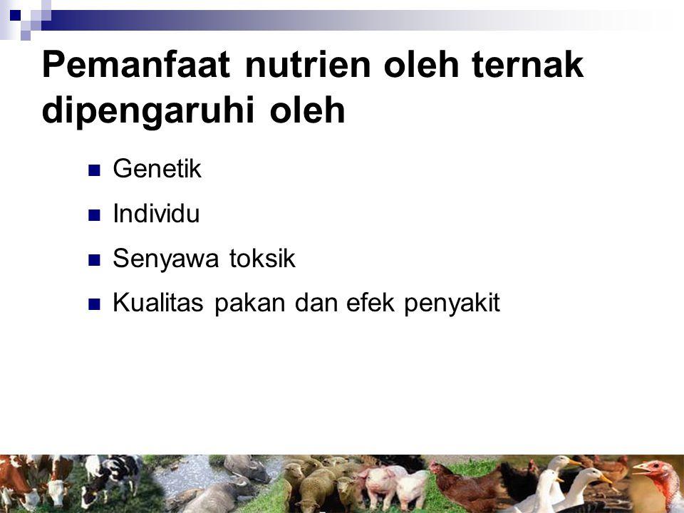 Pemanfaat nutrien oleh ternak dipengaruhi oleh