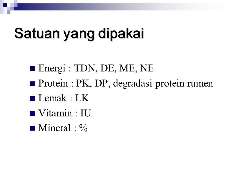 Satuan yang dipakai Energi : TDN, DE, ME, NE