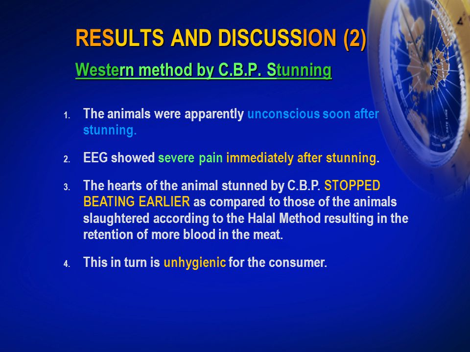 RESULTS AND DISCUSSION (2) Western method by C.B.P. Stunning