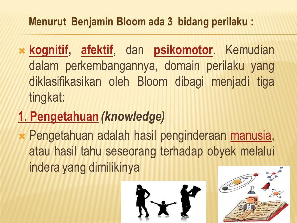 Menurut Benjamin Bloom ada 3 bidang perilaku :