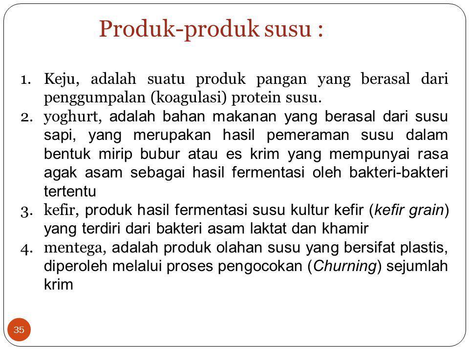 Produk-produk susu : Keju, adalah suatu produk pangan yang berasal dari penggumpalan (koagulasi) protein susu.