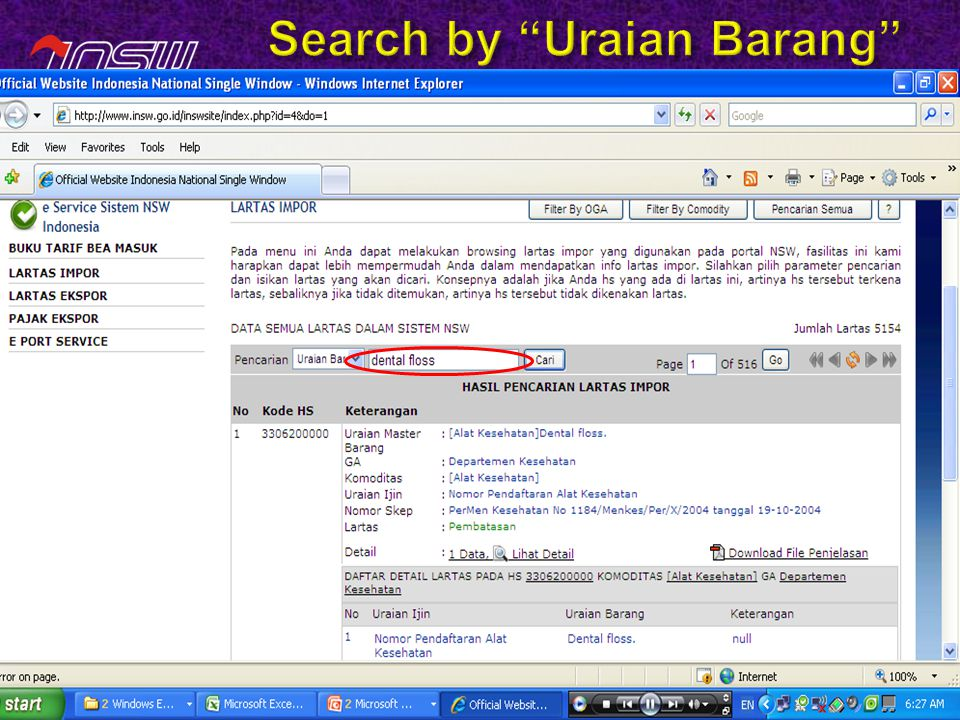 Search by Uraian Barang