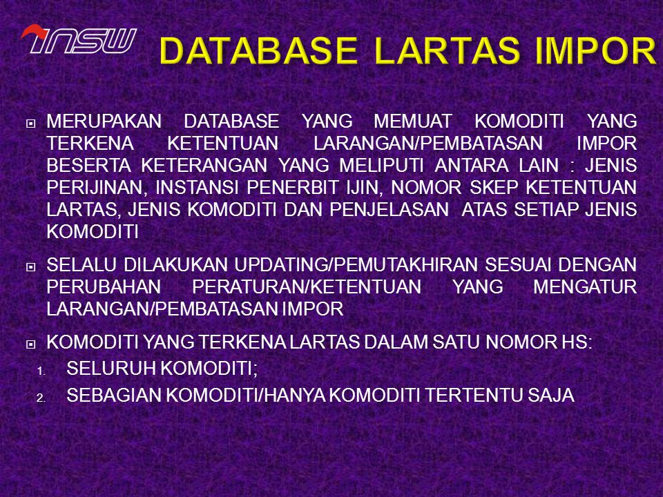 DATABASE LARTAS IMPOR