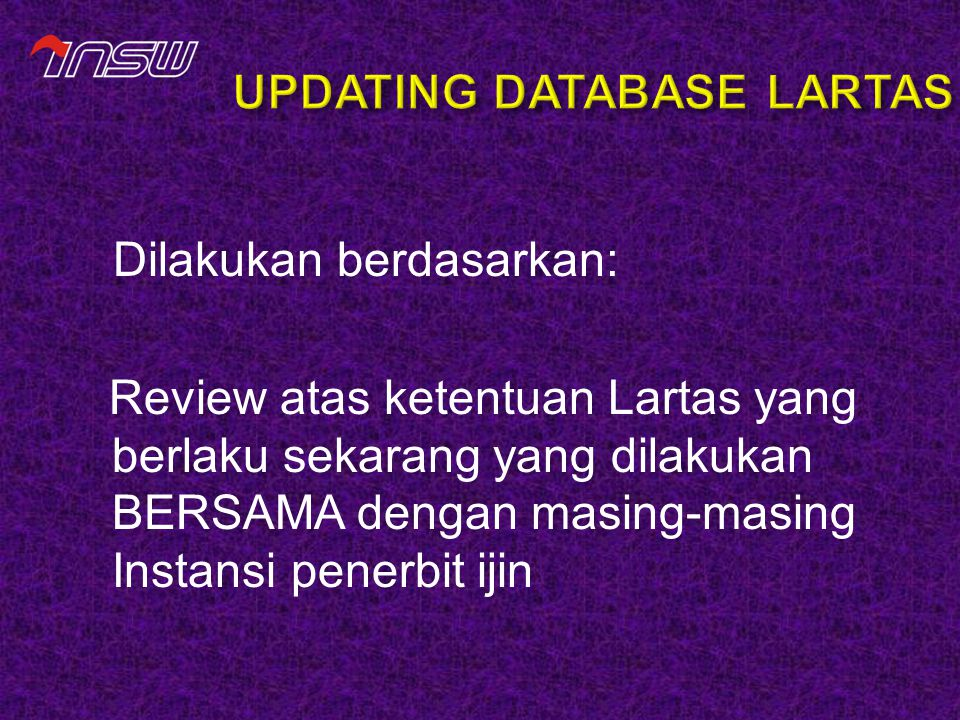 UPDATING DATABASE LARTAS
